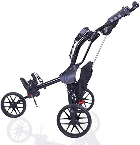 asdasd Chariot de Golf à 3 Roues Chariot léger Pliable Multifonctionnel avec Frein à Pied/Poche/Porte-Parapluie Ouverture et Fermeture Rapides