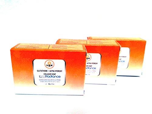NUBESS Glutathione skin whitening soap with Alpha Hydroxy   Collagen for Anti aging & Skin Glow (3 X 100 Grams)