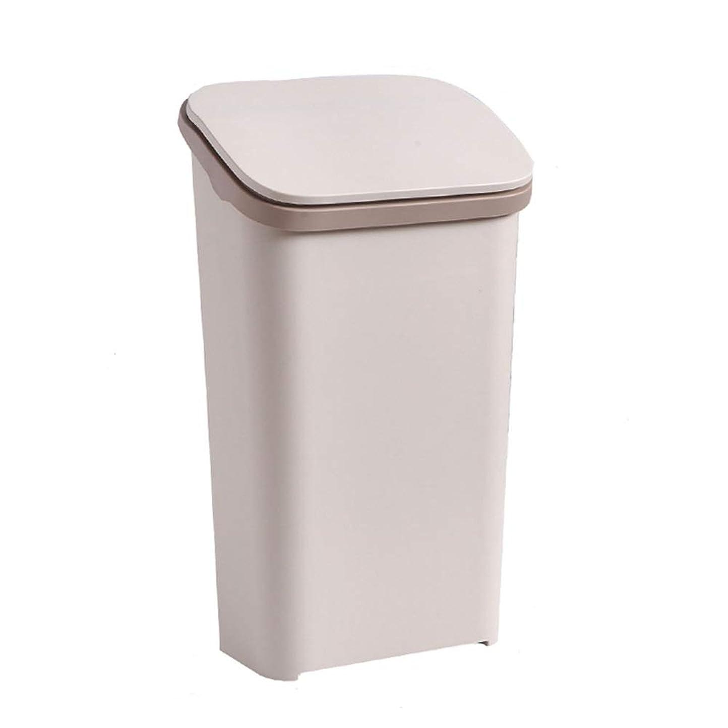 悪党嫉妬カヌーふたが付いている大容量の長方形のプラスチックゴミ箱、白/灰色/茶色(20リットル/ 5.35ガロン) (色 : ブラウン ぶらうん)