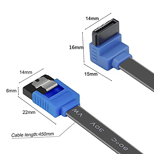 BENFEI SATA Cable III, 3 Pack SATA Cable III 6Gbps 90 Degree Right Angle with Locking Latch 18 Inch for SATA HDD, SSD, CD Driver, CD Writer - Black