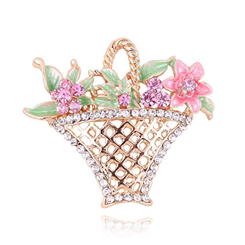 Ifdayy - Broche de flores con forma de cesta de flores y diamantes huecos, accesorios de joyería para novia o boda