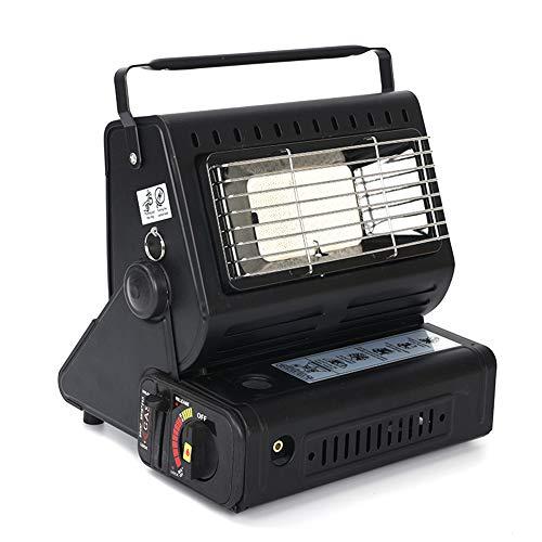 HLJS Calentador de gas portátil, pequeño, para camping, multifunción, para bombona de gas, baño, oficina, salón, interior y exterior (negro)