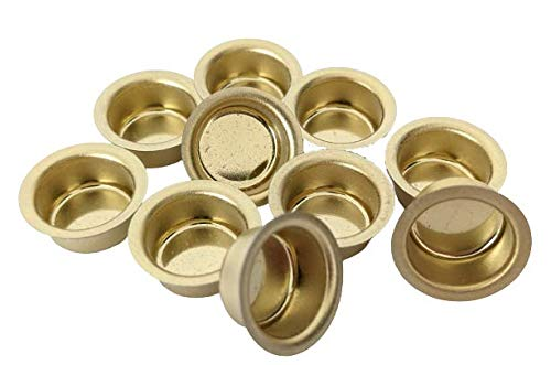 10er Set Kerzentüllen aus Metall, Gold, 14mm., Kerzeneinsatz, Kerzenhalter für Baumkerzen, Tafelkerzen und Teelichter