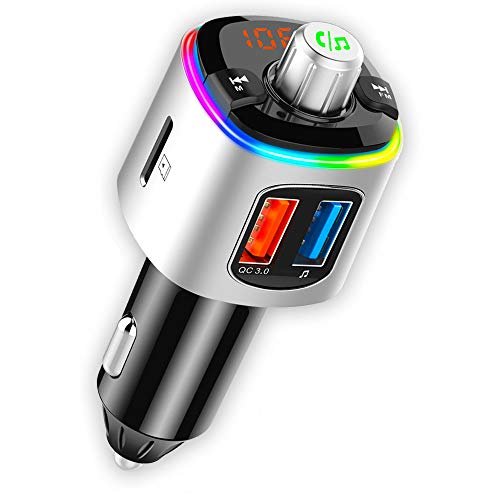 CRUST Car Bluetooth Device for Music System, FM Transmitter with QC 3.0 Dual USB Fast Charger & Call Receiver; 7 Colour LED Lights; Supports MicroSD, USB MP3 Audio Playback