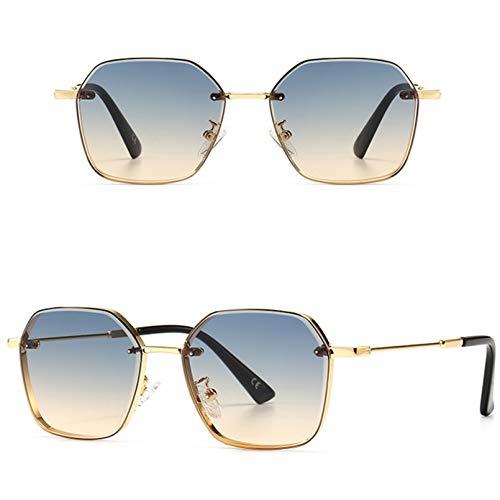 SXRAI Gafas De Sol para Hombre Retro Uv400 Gafas De Sol Cuadradas para Mujer Lente Degradada Marrón,C2