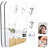 2 PCS Deluxe Shower Mirror,Bathroom Shaving Mirror,Travel Mirror,Shower Makeup Shave Mirror,Wall Hanging Shatterproof Mirror with Removable Adhesive Hook,Small, Portable, Handheld for Men and Women