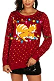 Tipsy Elves Light Up Cat Ugly Chrismtas Sweater for Women Cat-itude Fur Baby Playing Red Holiday Pullover Size Large