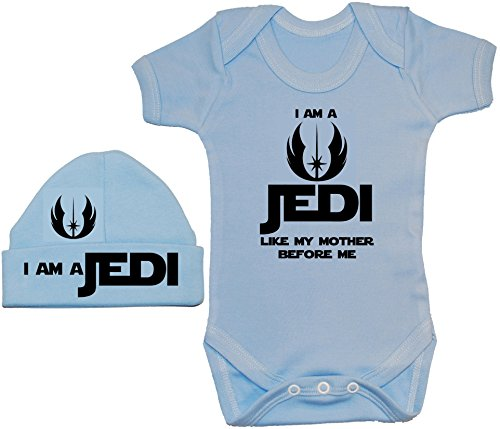 Acce Products I Am a Jedi Like My Mother Before Me Baby Grow/Body Barboteuse/T-Shirt & Bonnet 0 à 12 mois - Bleu - XXS