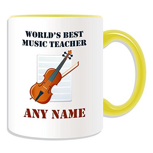 Regalo personalizado–World 's Best profesor de música/instrumento y pentagrama taza (diseño académico tema, colores)–cualquier nombre/mensaje en su único–escuela Colegio Univers