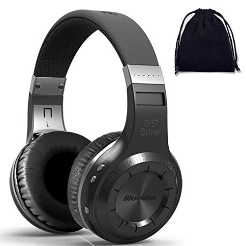 Bluedio Turbine H Wireless Bluetooth 5.0 Stereo Headphones with Mic, Shocking Bass Headphones with Storage Bag for Music Enthusiast, Voice Control (on ear, Black)