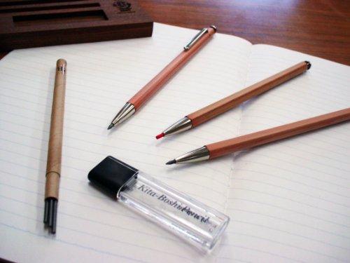 Kitaboshi 2.0mm Mechanical Pencil, Wooden Barrel, With Lead Sharpener, #1 B, Black Lead, 1ea (OTP-680NST), natural wood color w/sharpener Photo #4