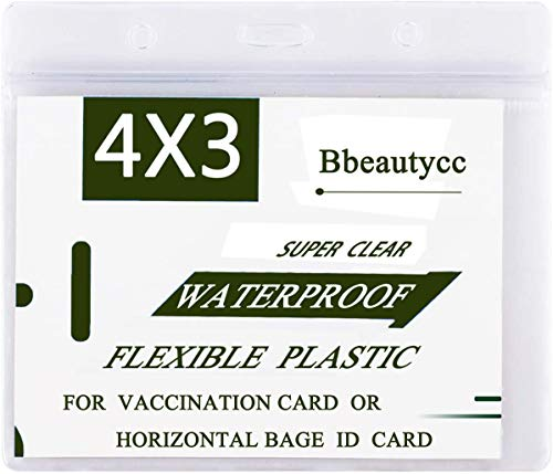 Clear Vaccination Card Protector 4x3 in, 10 Pack Name Tag Horizontal Id Badge Holders for CDC Immunization Record Vaccine, Waterproof Plastic Sleeve Cover w 3 Lanyard Slots and Resealable Zip (10)