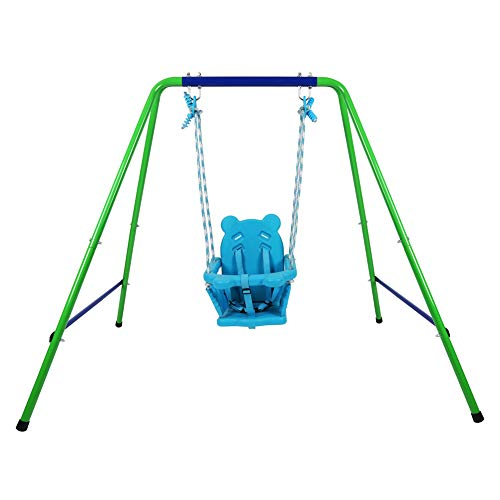 JJG Folding Outdoor Indoor Toddler Secure Swing Set with Safety Seat for Baby Kids Blue Color