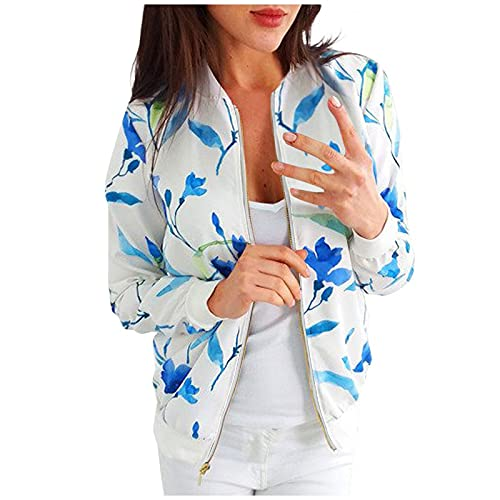 FMYONF Women's Bomber Jacket Spring Autumn Thin Summer Floral Pattern Long Sleeve Tops Transition Sports Coat Zip Stand-Up Collar Jackets Outwear Short Coat - White - M