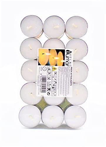 Paquete de velas candelitas blancas sin perfume, juego de 30 velas.