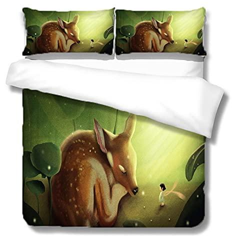 Funda de edredón grande de poliéster con estampado de alce y funda de almohada de cama individual cama doble 3Or2 piezas set multi-tamaño 140 × 229 cm (2 piezas) Elk print