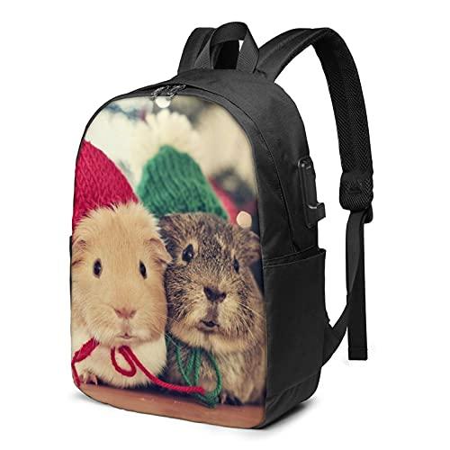 Lindo conejillos de indias, mochila de viaje para portátil con puerto de carga USB para hombres y mujeres de 45 cm - negro - talla única