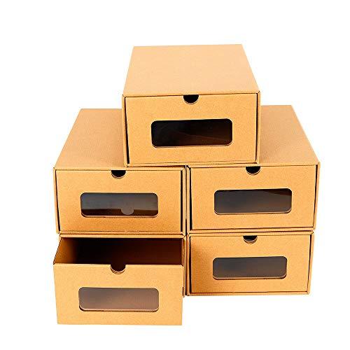 Aohuada Aufbewahrungsbox Schuhkarton Faltbar und Pappe Stapelbar Schuhaufbewahrung Schuhbox 10 Stück Mehrweg praktischer aus Kunststoff ideal zur geschützten für Stöckelschuhe Turnschuhe