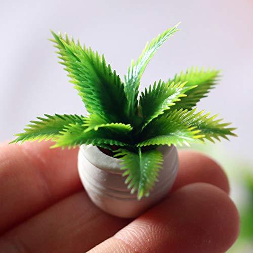 GRASARY Mini Green Plant Tree - Maceta para casa de muñecas, muebles en miniatura, decoración para el hogar, juguete perfecto para casa de muñecas, juego de regalo