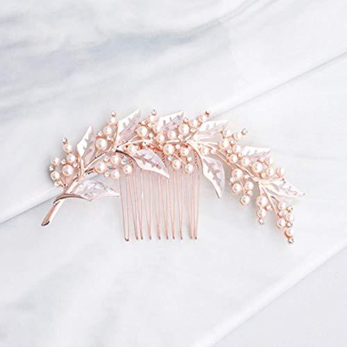 Bhu Vintage tricolor nupcial tiara diseño de hoja de agua diamante perla peine vestido de novia oro rosa