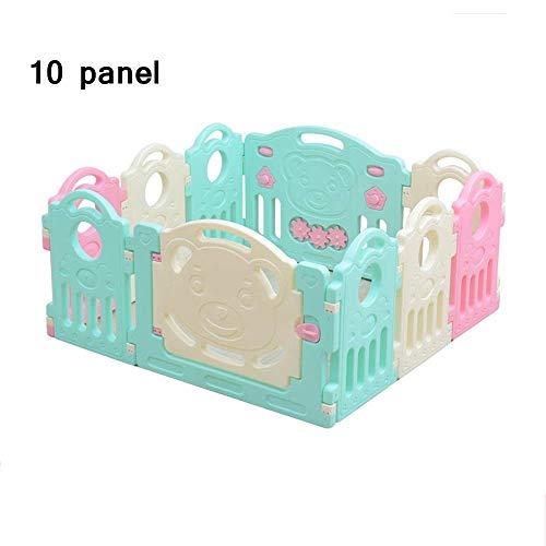 ZGYQGOO Parc bébé, 10 Panneaux Baby Safety Play Yard Kids Centre d'activités sécurité en Plastique pour la Maison en Plein air avec Porte sécurisée et Durable