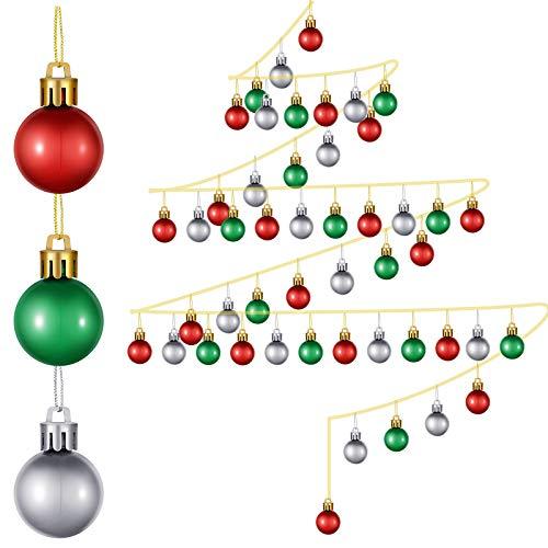 36 Stück 25 mm Mini Weihnachtsbaumkugel Weihnachtskugeln Ornamente Weihnachten Kunststoff Hängende Kugeln Dekoration für Weihnachtsbaum, Rot,Splitter, Grün