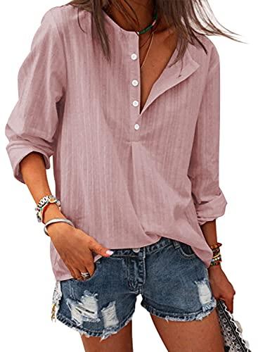 Lange Bluse Damen Langarm Shirts Tunika Tops Casual Hemdbluse Oberteile T-Shirt(PK,M)