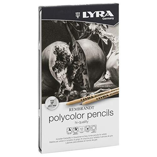 LYRA Rembrandt Polycolor Art Pencils, Set of 12 Pencils, Assorted Greys (2001122)