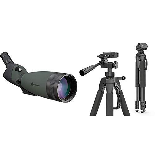 Bresser wasserdichtes Spektiv Pirsch 25x-75x100 mit stufenloser Zoomfunktion & Hama Kamera Stativ Action 165 3D (Tripod mit 61–165cm Höhe, leichtes Fotostativ mit 3-Wege-Kopf) schwarz