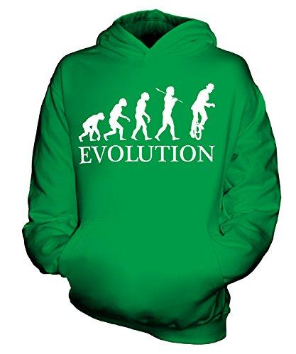 Candymix Einrad Evolution des Menschen Unisex Kinder Jungen/Mädchen Kapuzenpullover, Größe 5-6 Jahre, Farbe Grün