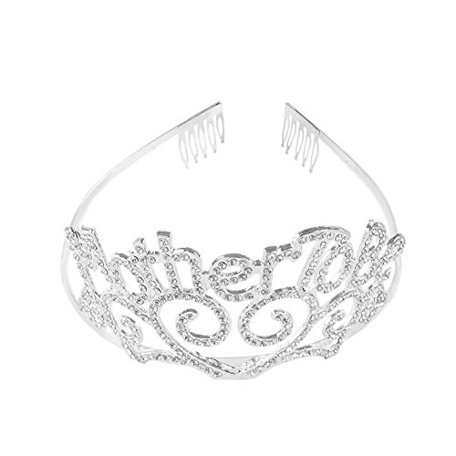 Price comparison product image Super Z Outlet Metal Mother To Be Silver Tiara Hearts Crown with Sparkling Rhinestones for Baby Shower Accessory