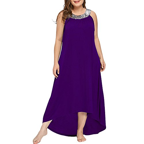 Vestido Mujer Elegante Cuello Redondo con Lentejuelas Brillantes Vestido sin Mangas Desigual Largo de Tallas Grandes, Violeta, 4XL