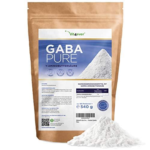 Gaba Pure - 540 g reines Pulver ohne Zusätze - Laborgerpüft - 100% Gamma-Aminobuttersäure - 180 Portionen - Vegan - Premium Qualität