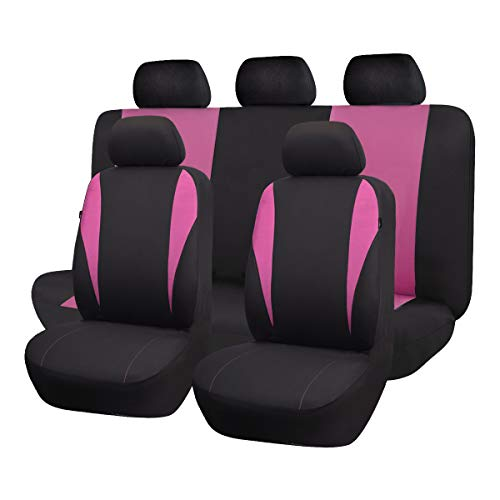 Flying Banner Fahion Universal Car Seat Cover 8 Colors Full Seat Covers 9Pcs/Set for Car (Pink)