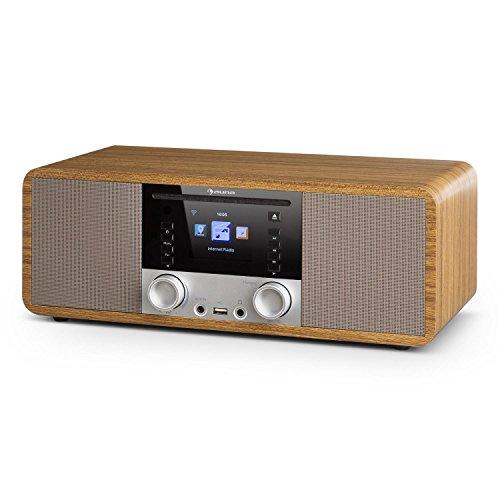 auna IR-190WD - Radio digitale, Internet Radio, Radio Wi-Fi, Radio FM, 2 x 8W RMS, Lettore CD/MP3, Bluetooth, USB ed AUX, Funzione Sveglia, Schermo a