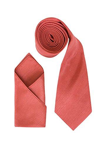 Juego de Pañuelo Para Corbata de Boda Dupion Para Hombre, También Perfecto Como Corbata Formal de Gent (Coral Orange)