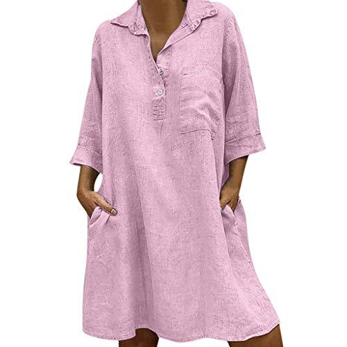 UINGKID Sommerkleid Damen Kleid Tshirt Retro Elegant Kurzarm Minikleid Kleider Frauen Solide Boho Umlegekragen 3/4 Ärmel Casual Pocket Button Dress