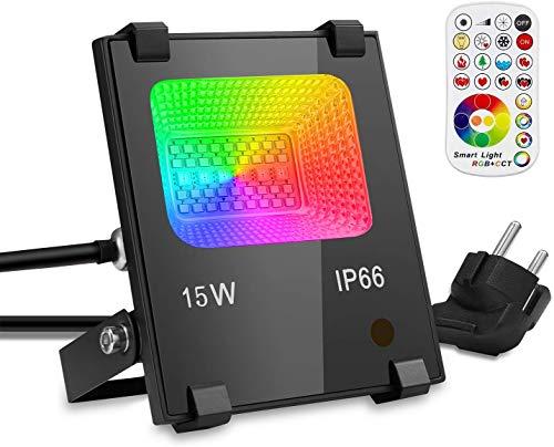 GIM RGB 15W LED Strahler Dimmbar Fernbedienung 120 Farben 4 Modi, IP66 Wasserdicht LED Flutlicht, Aluminium Außen Scheinwerfer, Garten Stimmungslichter