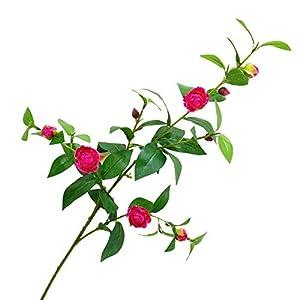 Muzi Simulation Artificial Camellia Flower 5 Heads Long Branch Silk Cloths Fake Flower for Wedding Home Decoration 90cm