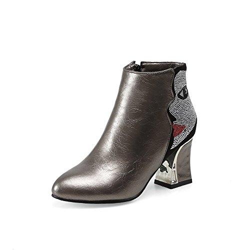 AllhqFashion - Botas para Mujer Plateado Size: 40.5