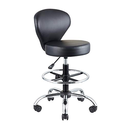 KLASIKA Drafting Chair Rolling Swivel Salon Stool with Back Support Foot Rest Adjustable Hydraulic for Office Massage Facial Spa Medical Tattoo Beauty Barber