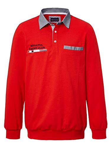 BABISTA Herren Sweatshirt Langarm mit Hemdkragen in Rot aus Baumwolle mit Kontrastdetails