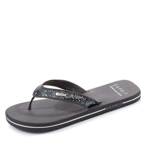 ESPRIT Damen Glitter Thongs Pantoletten, Grau (Gunmetal 015), 41 EU