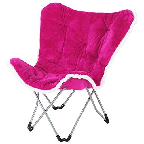 AJZXHESimple et créatif Chaise Pliante de Balcon, Chaise de Papillon, Chaise de Loisirs, Chaise de Sofa, (Couleur : Rose Rouge)