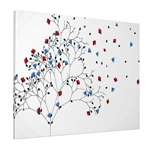 """Floral Decor Leafless Tree with Flowers Inspirational Blooms Nature Spring Style Illustration Red Bluepainting 16"""" X 20"""" Panoramic Canvas Wall Art"""
