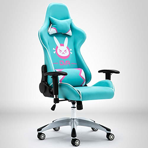 Roze gamingstoel, racestijl Computerstoel Ergonomie Liggende pc-stoel Lederen bureaustoel met hoge rugleuning en verstelbare armleuning en lendensteun,Blue