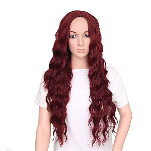 JAFA Longues Perruques Naturel Vague Perruques Noir Ombre Vin Rouge Perruque Longs Ondulés Perruques Haute Température Fiber Synthétique Perruque pour Femmes 30 Pouces