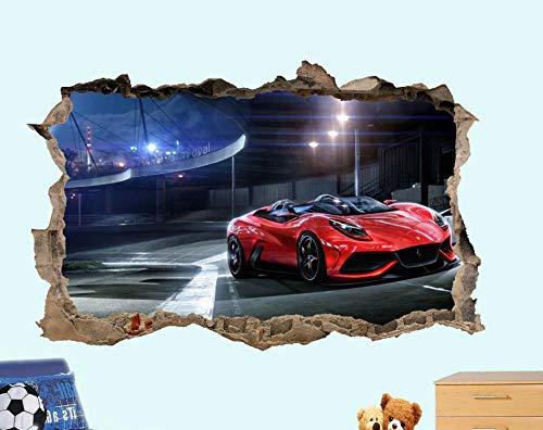 Pegatinas de pared Super deportes rojo coche de carreras etiqueta de la pared 3D calcomanía decoración de la habitación mural