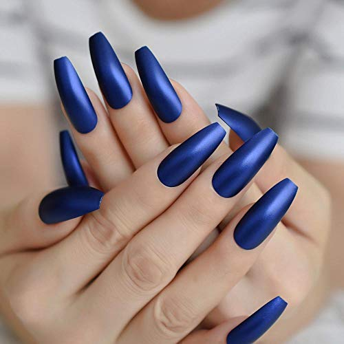 CLOAAE Long Navy Blue Matte False Nail Artificial Solid Color Practice Press On Nail Double Stickers Faux 24 CT L5277