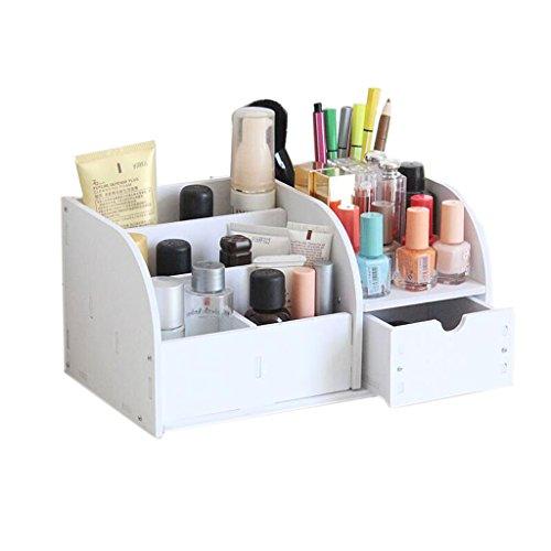 Coffrets de maquillage Type de tiroir Boîte de Rangement de cosmétiques Coiffeuse Tables Bureau cosmétique Boîte de Rangement Salle de Bain étagère (Couleur : Blanc)